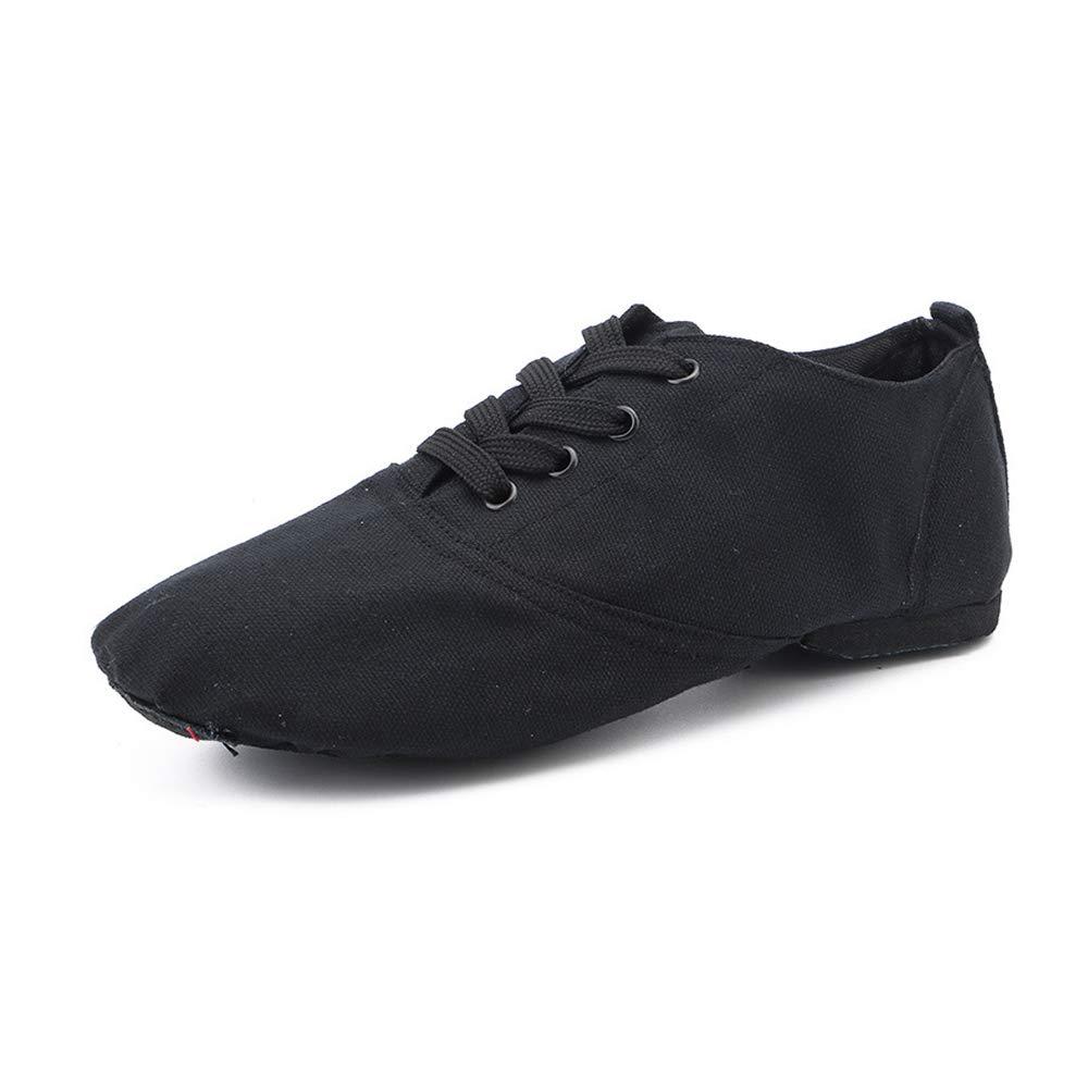 Chaussures à Lacets de Danse du Jazz Noires à Semelle de Cuir pour Filles Femmes Hommes Enfants Danse révolution