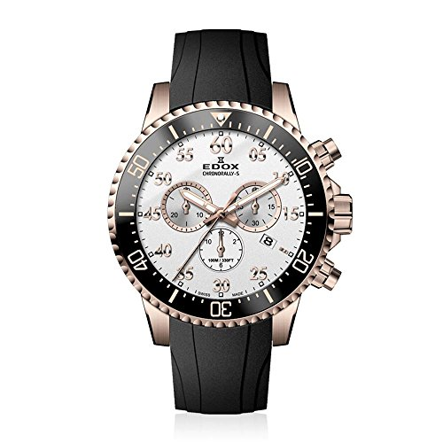 Edox Men's Chronorally -S Stainless Steel Quartz Sport Watch with Rubber Strap, Black, 20 (Model: 10227 37RCA ABR)