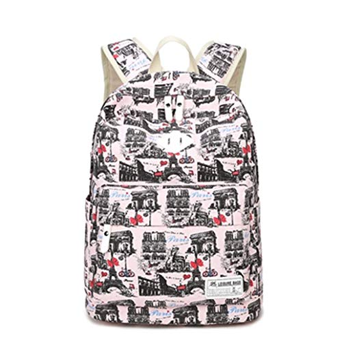 (Cute Women Printing Backpacks For Girls Cat Pattern School Bag For teenagers Backpack Pink triumphal arc)
