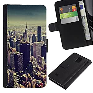 KingStore / Leather Etui en cuir / Samsung Galaxy Note 4 IV / Skyline de New York City Blue