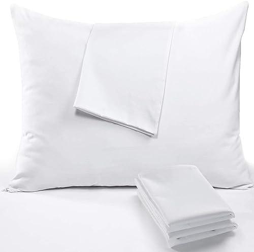 vMart 450T Silky Cotton Hotel Luxury 4pack Pillow Case Zippered Queen