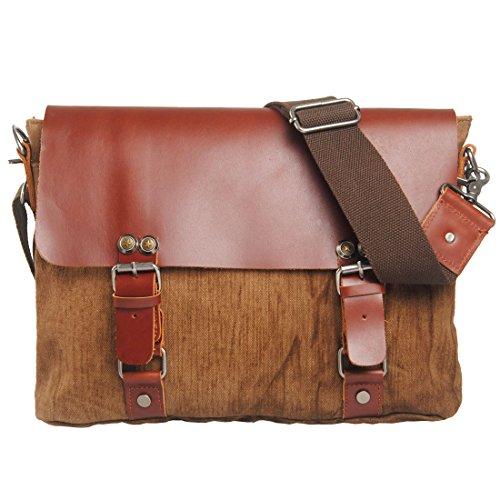 Men's Casual Brown Shoulder Bag Messenger Burlap Bag Business Briefcase