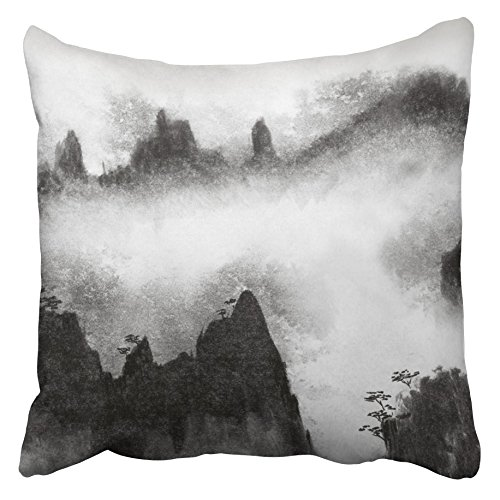Emvency Throw Pillow Covers 20 x 20 Inches Abstract Chinese High Mountains and Mist Asia China Cliff Climber's Cloud Dramatic Pillow Case Decorative Cushion Cover Two Sides Print Pillowcase