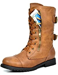 Womens Winter Lace up Mid Calf Combat Boots