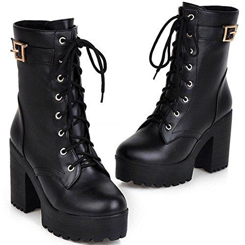 Lace up Fashion Women Booties Chunky JOJONUNU Black q1ASwBnv