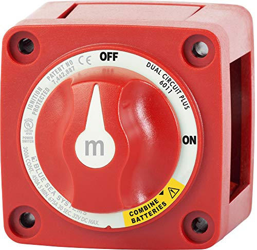 Dual Circuit Plus Battery Switch - Blue Sea Systems m-Series Mini Dual Circuit Plus Battery Switch - Red