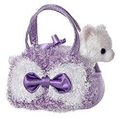 Aurora World Fancy Pals Plush Curly Lavender Pet Carrier Purse