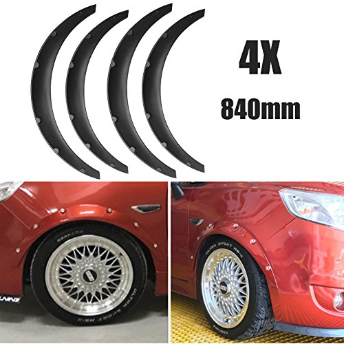 BLACKHORSE-RACING 840mm Universal Flexible Car Fender Flares Extra Wide Body Wheel Arches Kit, Pack of 4