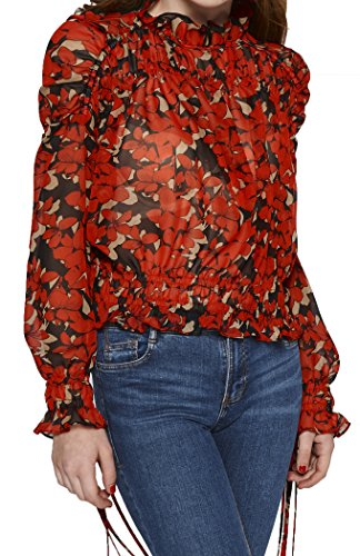 Women's Turtle Neck Long Sleeve Smocking Blouse Tops (Red/Black, Medium)