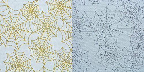 Sparkle Spiderweb Mesh Ribbon 2 Pack- Perfect for Halloween Decor and Crafts (Silver/Gold) ()