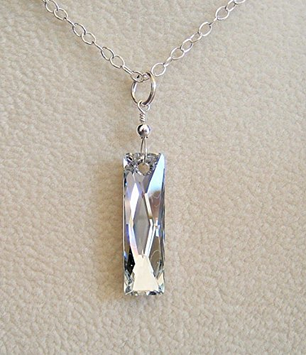 Colorless Mirror Baguette Swarovski Elements Crystal Pendant Necklace Sterling Silver 18 (Costumes Designer For Mirror Mirror)