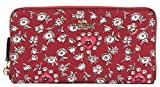 Coach Women's Wild Heart Print Accordion Zip Around Wallet, Style F57832, Red Multi