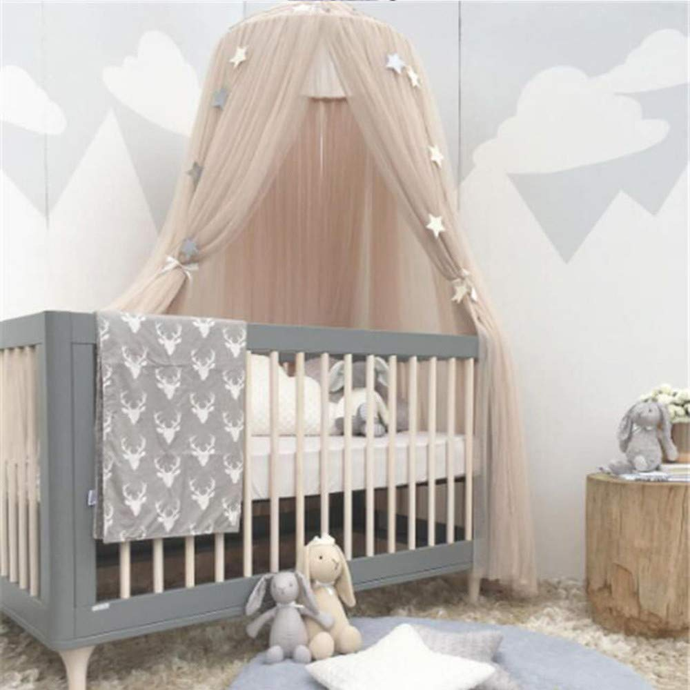 YUYOUG_Bed Canopy Round Dome Mosquito Net Curtain Bedding Princess Bed Play Tent Room Decoration for Baby Kids (khaki)