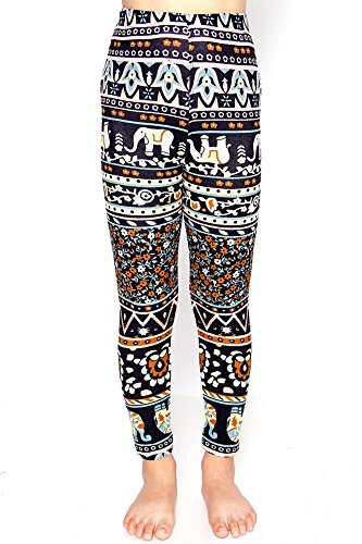 L4U Girls Pastel Elephant Printed Pattern Fashion Leggings (Tween Leggings)