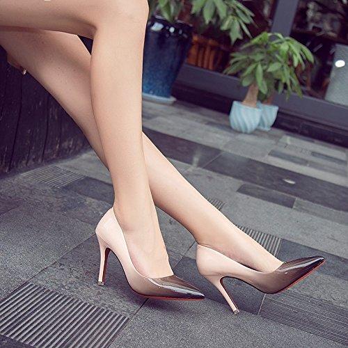 Minces Hauts La 37 Centimtres Pour Chaussure Clibataires Femme Peinture Cuir Dgrad Femmes Et En Lumire 9 Point De Beige Chaussures Avec Talons Fines qYHFZzw