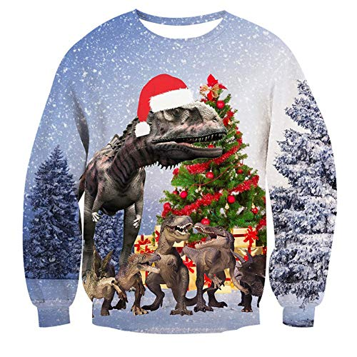 Goodstoworld Ugly Christmas Dinosaur Sweater for Women Crew Neck Funny Sweaters -