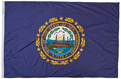 Annin Flagmakers Model 143470 New Hampshire State Flag 4x6 ft. Nylon SolarGuard Nyl-Glo 100% Made in USA to Official State Design Specifications.
