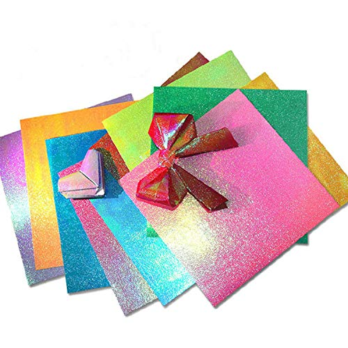 50pc/set Square Origami Paper Single Side Shining Folding Solid Color Glitter Papers Kids DIY Scrapbooking Hand Craft Decoration