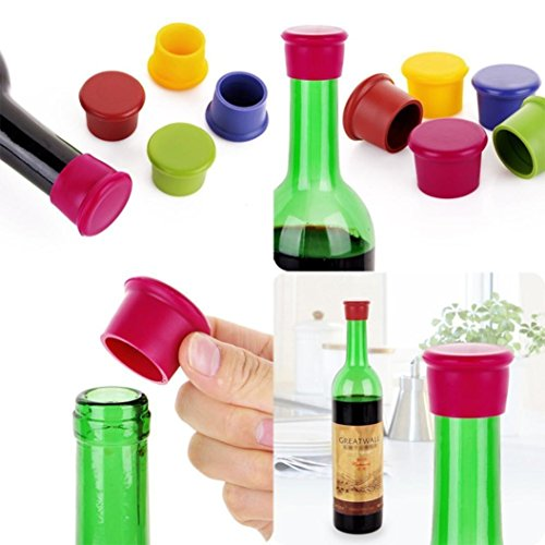 DZT1968 Pack Of 10 Assorted Colors Silicone Reusable Wine Bottle Caps Beer Sealer Cover