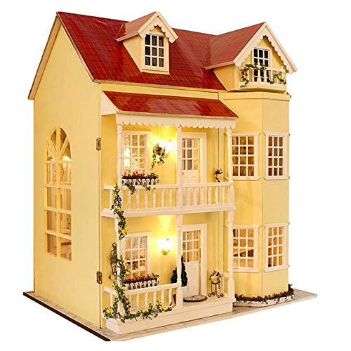XuBa DIY Handwerk Miniatur Projekt Kit Holz Puppenhaus LED Lichter Musik Villa Mehrfarbig