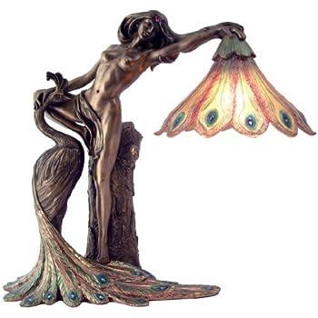 Art Nouveau Nude Lady Peacock Lamp Sculpture