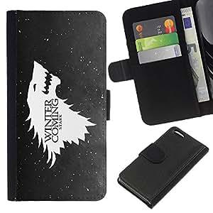KLONGSHOP // Tirón de la caja Cartera de cuero con ranuras para tarjetas - Lobo Águila próximo invierno Nieve Divertido - Apple Iphone 5C //