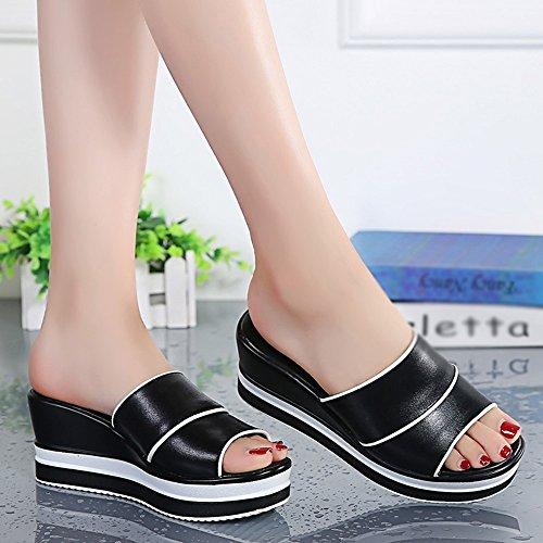 Sommer neue Sandalen elegante Dame Slope mit dicken Boden Plateauschuhe ( Farbe : 5 , größe : EU35/UK3/CN34 ) 5