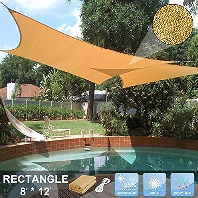 zimo Sun Shade Sail UV Block Sunshades Depot Triangle Canopy Sail Shade for Yard Patio Garden (Rectangle) : Garden & Outdoor
