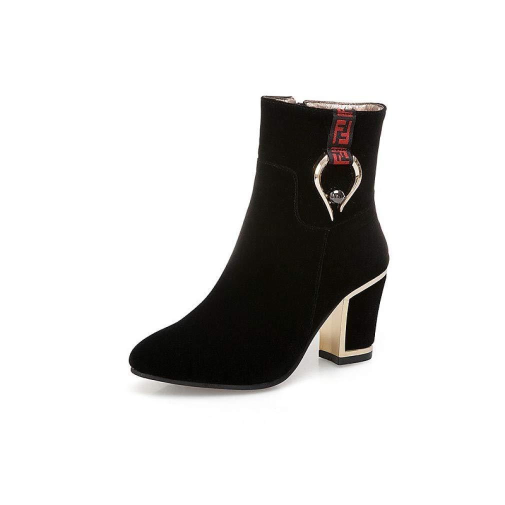 SchuheHAOGE Damenmode Stiefel Wildleder Herbst & Winter Classic Stiefel Chunky Heel Spitz Stiefel Schwarz/Rot / Hochzeit/Party & Abend
