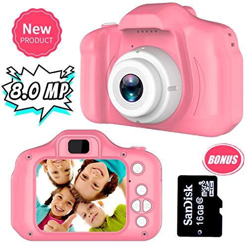 Yehtta Gifts for 3-8 Year Old Girls Kids Camera 8.0 MP Digital Cameras for Children Video Record Electronic Toy Birthday Gifts Pink