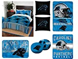 The Northwest Company NFL Carolina Panthers Full Bedding Set - Includes 1 Full Comforter, 1 Full Flat Sheet, 1 Full Fitted Sheet, 2 Pillowcases, 1 Blanket, 1 Throw, 1 Rug, and 4 Decorative Pillows