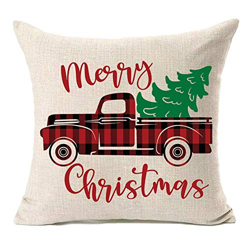 MFGNEH Merry Christmas Truck and Christmas Tree Throw Pillow Covers Christmas Decorations Cushion Cover 18 x 18 Inch Cotton Linen for Sofa,Christmas Decor