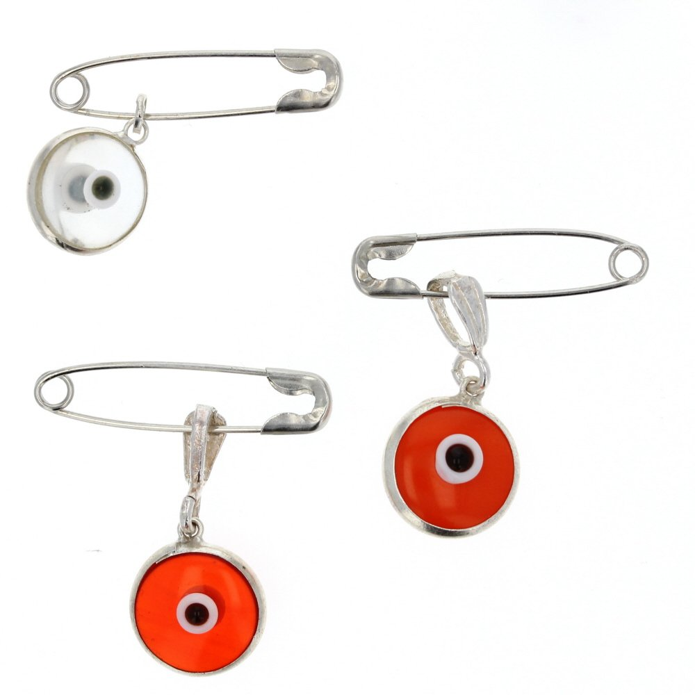 Evil Eye, Silver and Glass Evil Eye Charm with Stainless Safety Pin to Hook