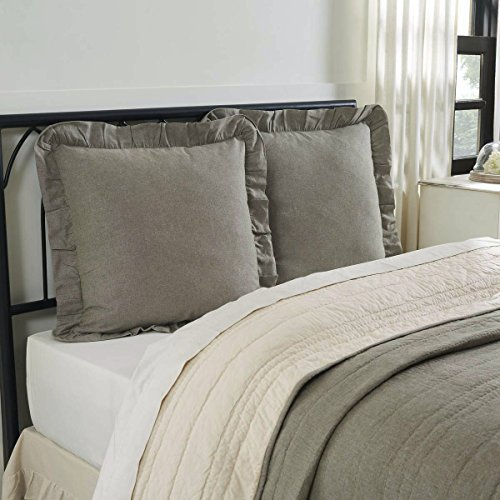 Piper Classics Ruffled Chambray Taupe-Grey Fabric Euro Sham 26x26, Farmhouse Style