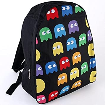 32a46d9e20bb Amazon.com  Boys Black retro PACMAN GHOST BACKPACK RUCKSACK School Bag  Travel Video Game NEW