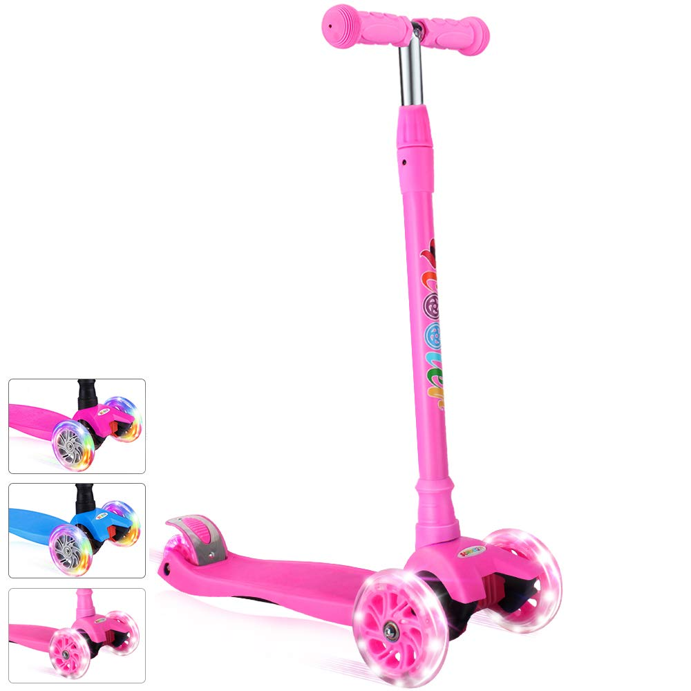 BELEEV Kick Scooter for Kids 3 Wheel Scooter for Toddlers Girls & Boys, 4 Adjustable Height, Lean to Steer with PU LED Light Up Wheels for Children from 3 to 14 Years Old (Pink-White Light) by BELEEV