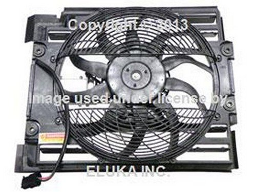 (BMW OEM Auxiliary Fan Assembly with Shroud for A C Condenser E39 6921395 525i 528i 530i 540i 540iP M5)