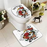 Muyindo Soft Toilet Rug 2 Pieces Set Skull and Blossoms Butterflies Christian Religious Celebrati Vacati Machine-Washable