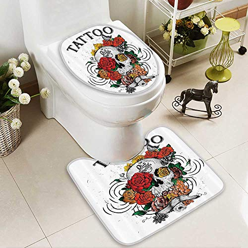 Muyindo Soft Toilet Rug 2 Pieces Set Skull and Blossoms Butterflies Christian Religious Celebrati Vacati Machine-Washable by Muyindo