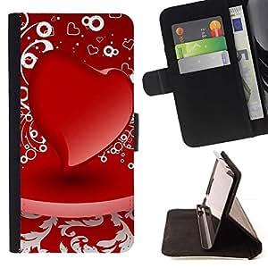 Momo Phone Case / Flip Funda de Cuero Case Cover - D corazón rojo - Apple Iphone 5 / 5S