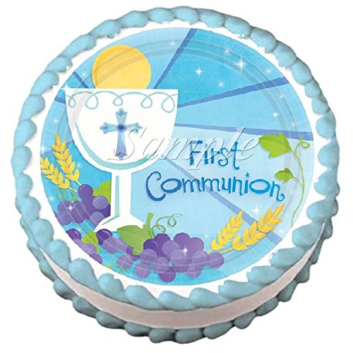 (First Communion Blue Edible Frosting Sheet Cake Topper - 7.5
