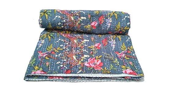 Blue Indigo Patchwork Kantha Quilt Bedspread Kantha bed Cover Kantha BeddingKing