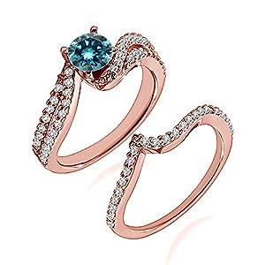 1.03 Carat Blue I2-I3 Diamond Engagement Wedding Anniversary Halo Bridal Ring Set 14K Rose Gold
