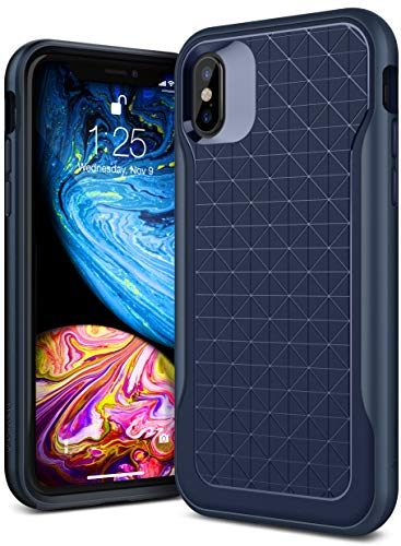 Caseology Apex for iPhone Xs Case (2018) - 3D Pattern Design - Navy Blue