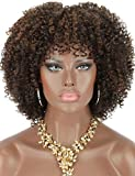 Kalyss 8' Short Kinky Curly Wigs for Women Brown Highlights Premium Synthetic Afro Wigs with Hair Bangs Natural Curls Wigs for Women,Bouncy Full and Natural Looking 150% Density