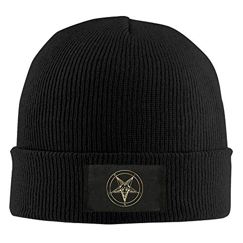 - Gold Baphomet Inverted Pentacle Pewter Satanic Goat Head Unisex Knit Beanie Hat 100% Acrylic Daily Warm Soft Hats Navy
