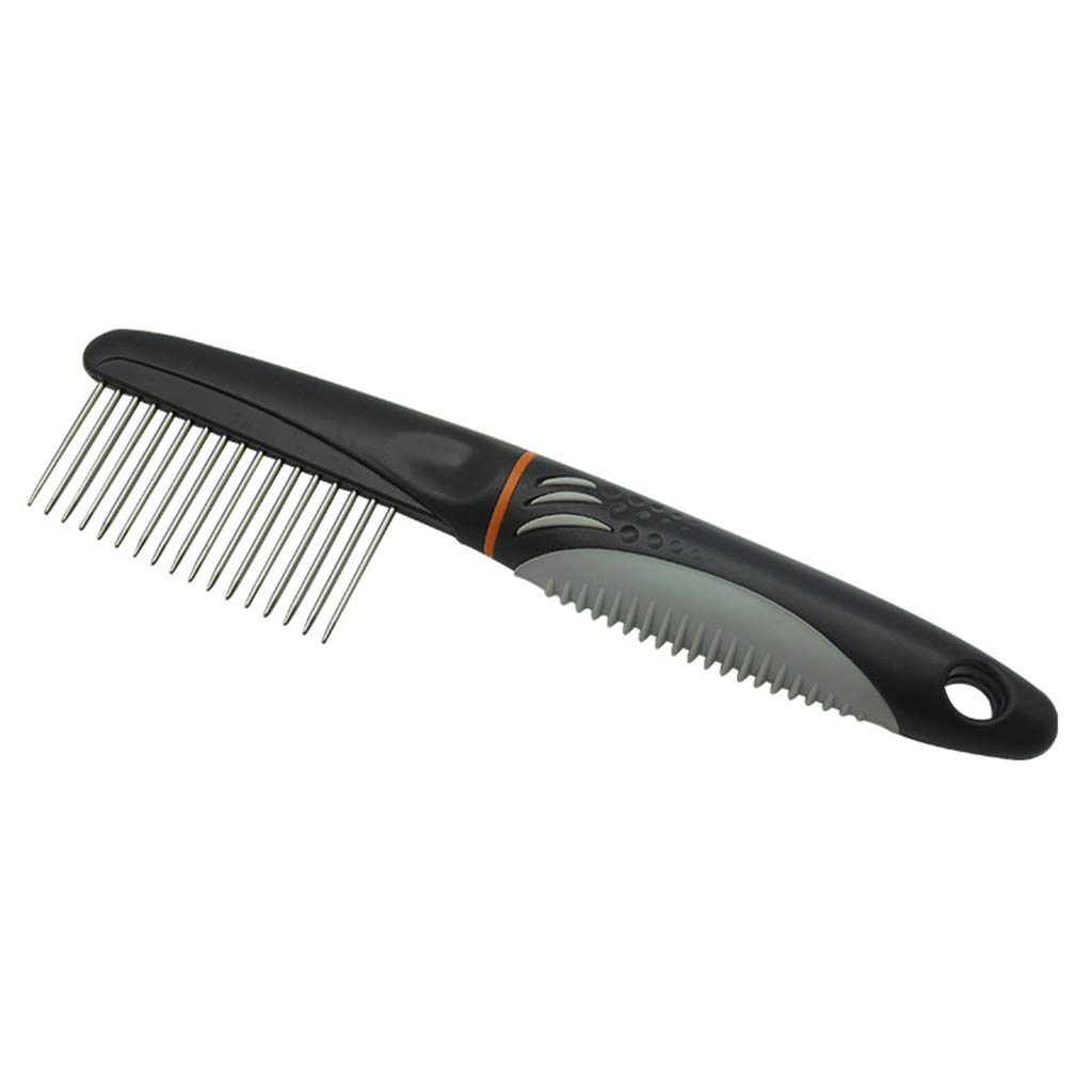 SummarLee Pet Comb Stainless Steel Needle Long Thick Tooth Cleaning Comb Smooth Hair Knot Massage Abs Hard Rubber + TPR Soft Rubber Handle 225cm by SummarLee