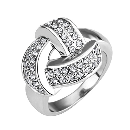 Yoursfs 18k White Gold Plated Engagement Rings Silver - 3