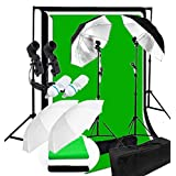 CanadianStudio Photo Studio Continuous 2-Head Umbrella Lighting Light Black/White/Green High Key Muslin Backdrop Stand Kit