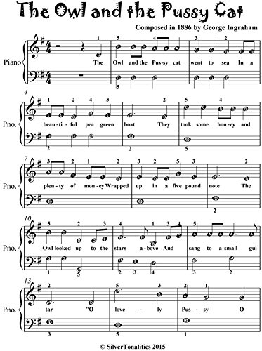 Owl and the Pussy Cat Easiest Piano Sheet Music for Beginner Pianists
